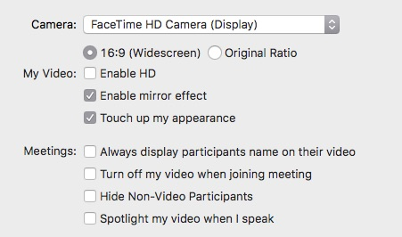 Zoom Touch Up My Appearance option checkbox