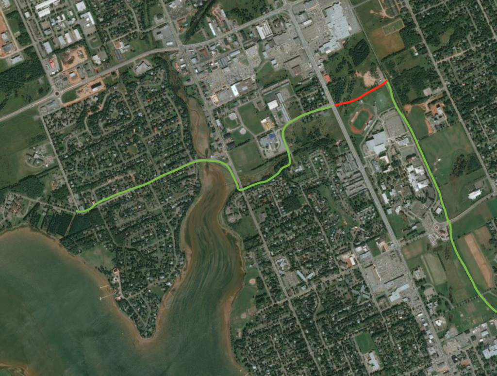 Map showing lack of connection between Confederation Trail and Lewis Point Park