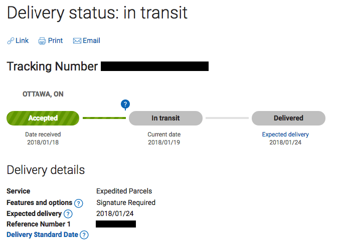 Screen shot of Canada Post tracking page for my order