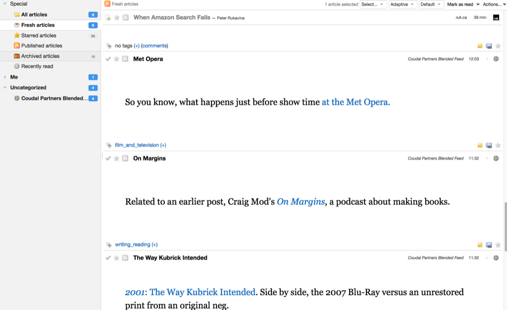 Screen shot of feedreading in Tiny Tiny RSS in a browser