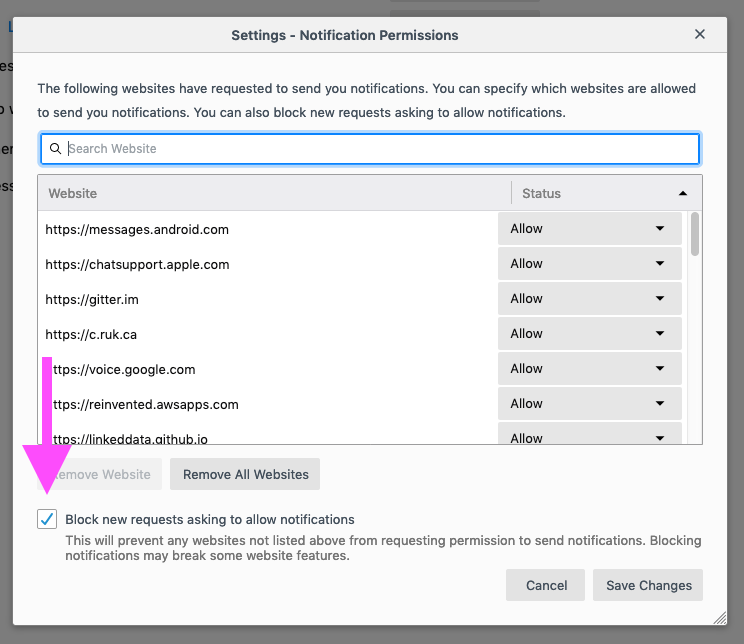 How to turn off Notifications Prompts in Firefox