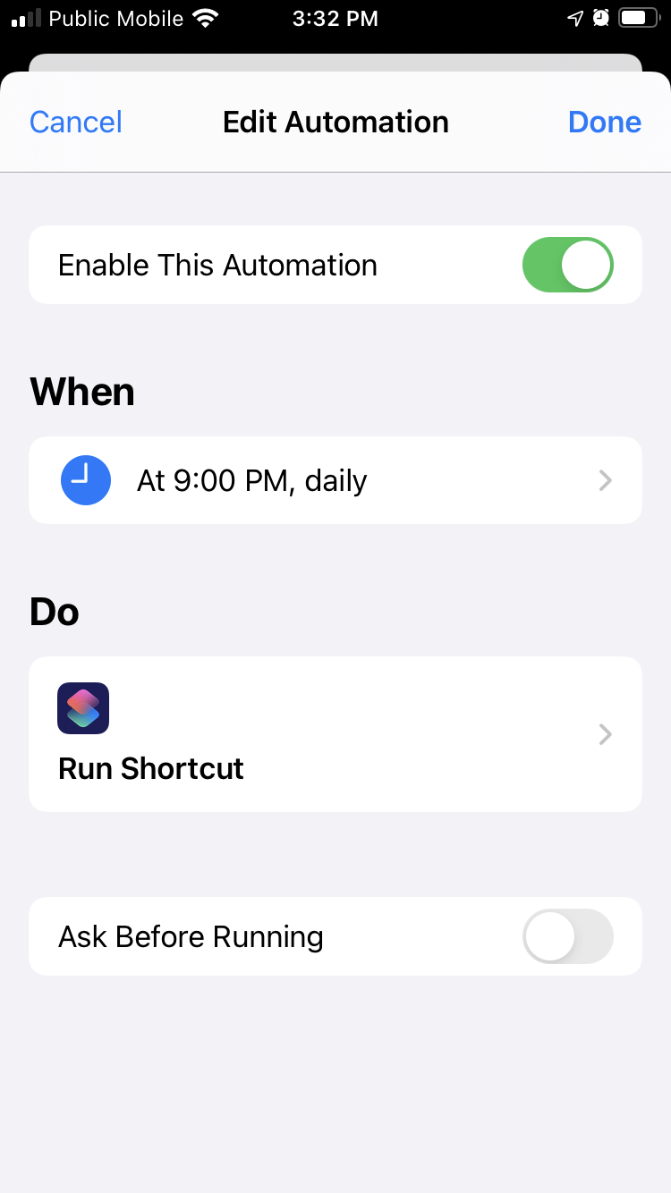 iOS Shortcuts app showing Personal Automation to run at 9:00 p.m. daily