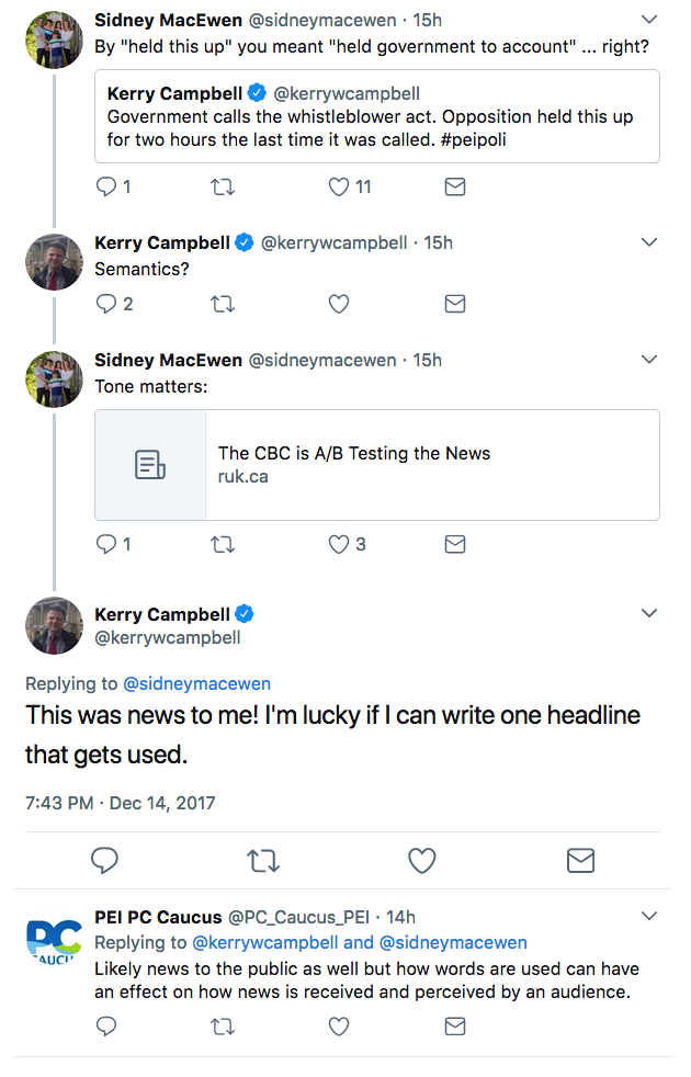 Screen shot of a Twitter exchange between Sidney MacEwen and Kerry Campbell