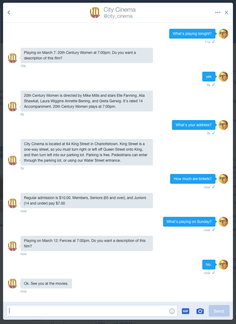 "Screen shot of the City Cinema Twitter ""bot"" in action showing a dialog where I ask it questions and it responds."