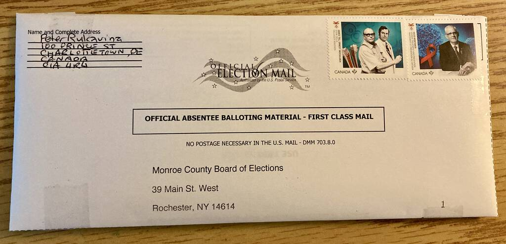 My envelope for my U.S. ballot