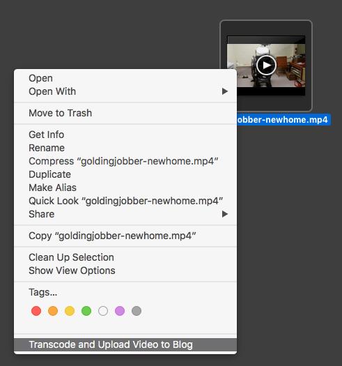 Screen shot of using the Automator script