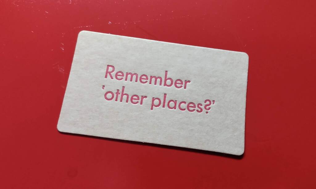 Remember other places card, photographed on the ink disc.