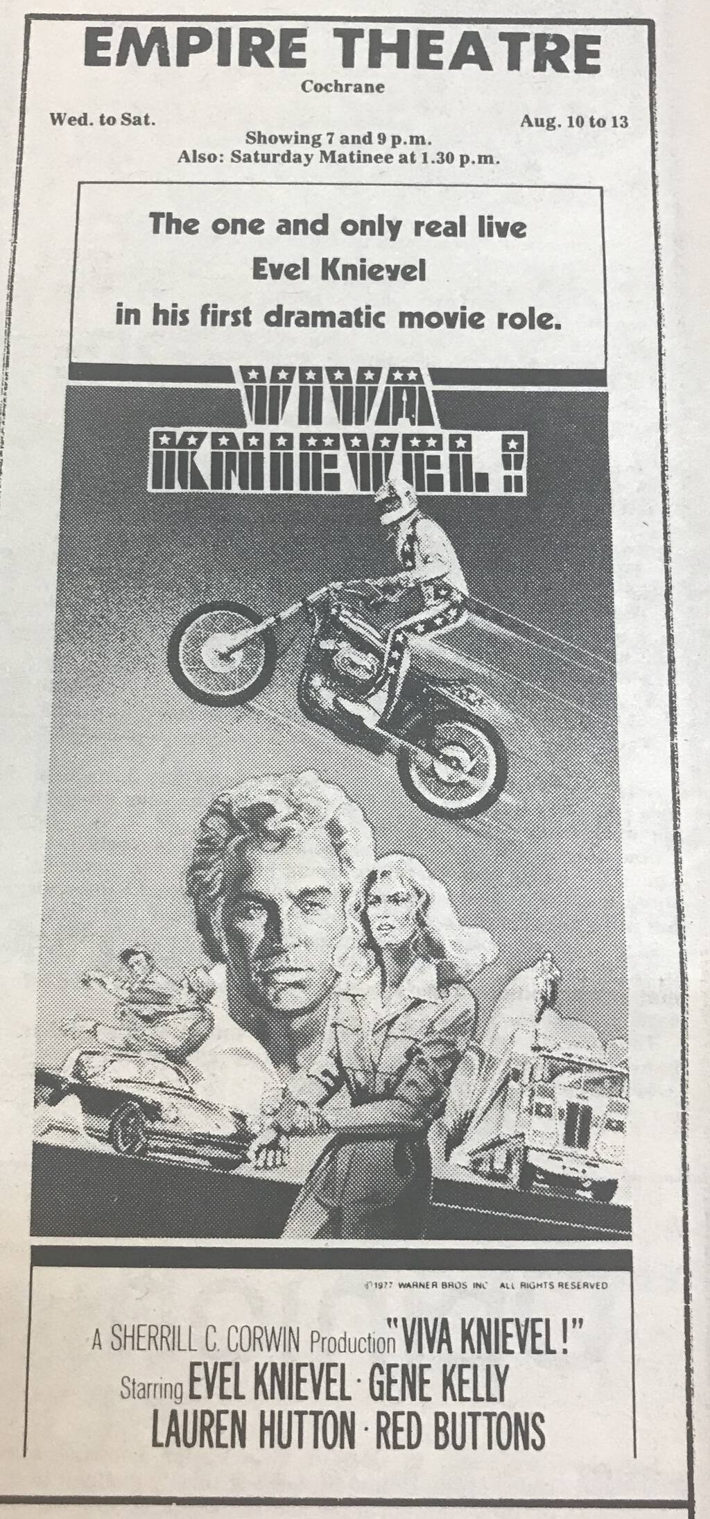 Northland Post movie ad for Viva Knievel!