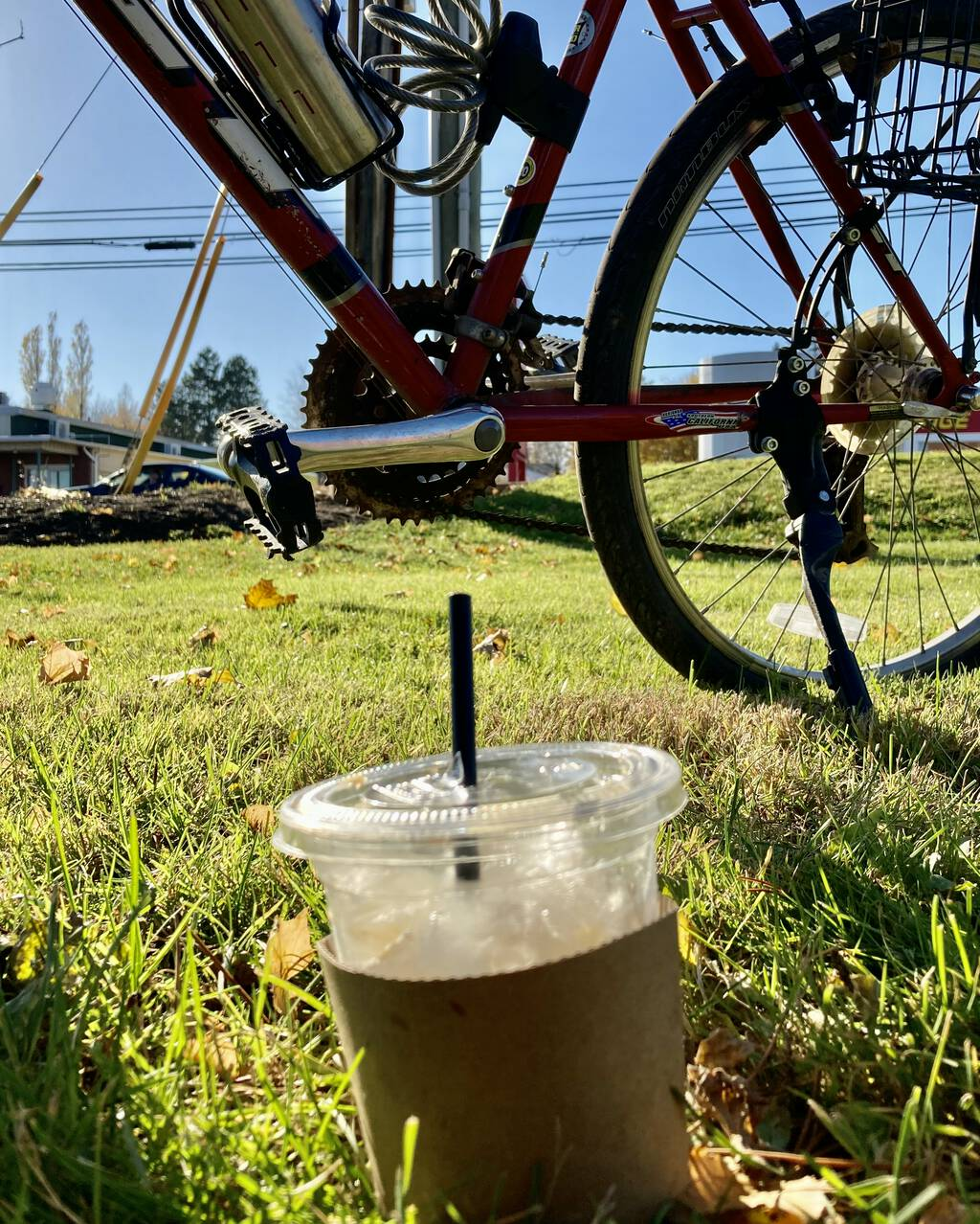 Photo of a Vietnamese coffee on the grass, with my bicycle, and the street, in the background.