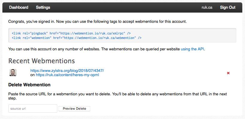Webmention.io Dashboard showing one Webmention