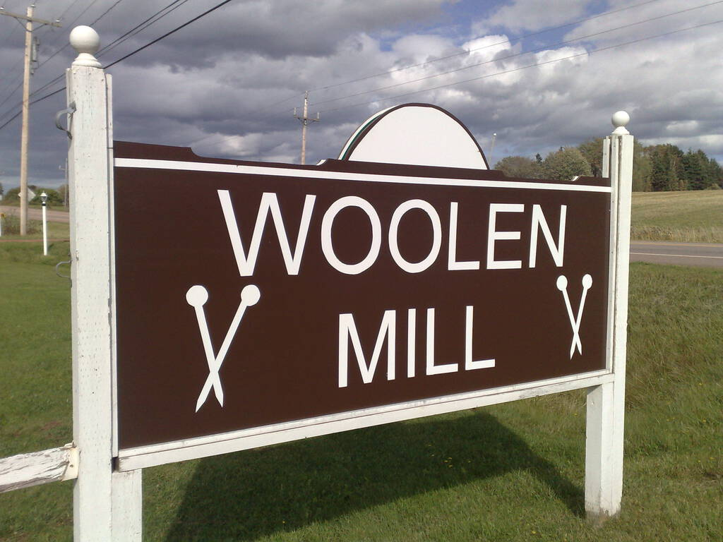 Sign at MacAudland's Woolen Mill