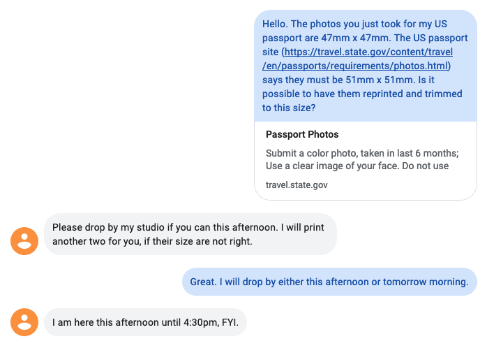 Text transcript about photos being the wrong size, and an invitation to return