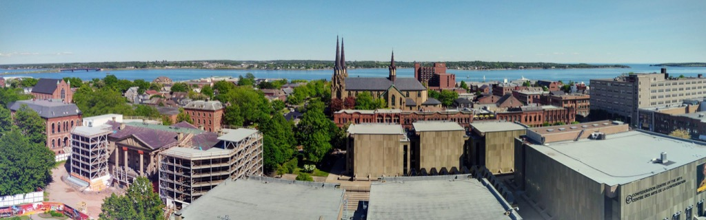 Panorama of downtown Charlottetown from 10th floor of Holman Grand hotel